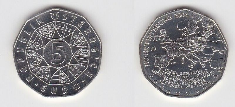 5 Euro Silber Münze Österreich 2004 EU Erweiterung (119215)
