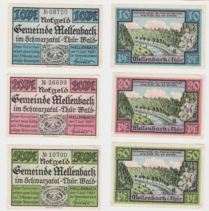 10, 20 & 50 Pfennig Banknoten Notgeld Gemeinde Mellenbach 1921 (133147)