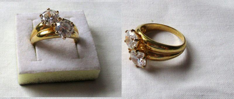 Vergoldeter 925er Sterling Silber Damenring mit 2 großen hohen Steinen (133038)
