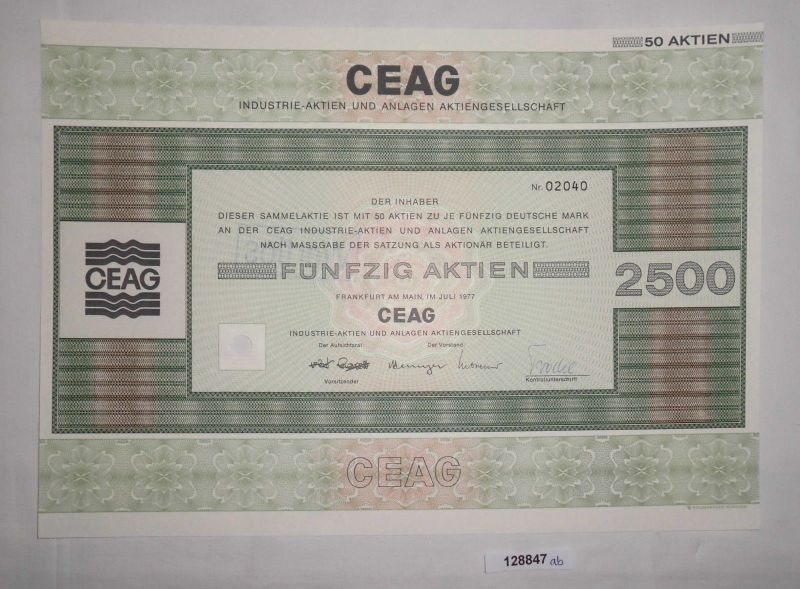 50 Mark fünfzig Aktien CEAG Industrie-Aktien & Anlagen Frankfurt 1977 (128847)