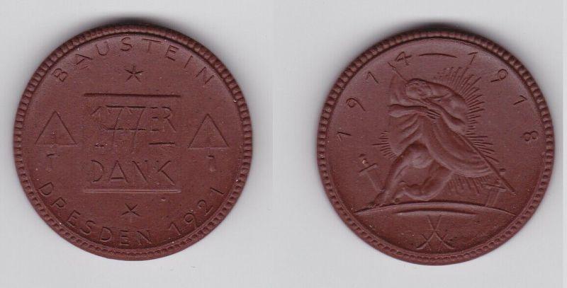 Medaille Porzellan Böttger Steinzeug Baustein Dresden 177er Dank 1921 (123756)