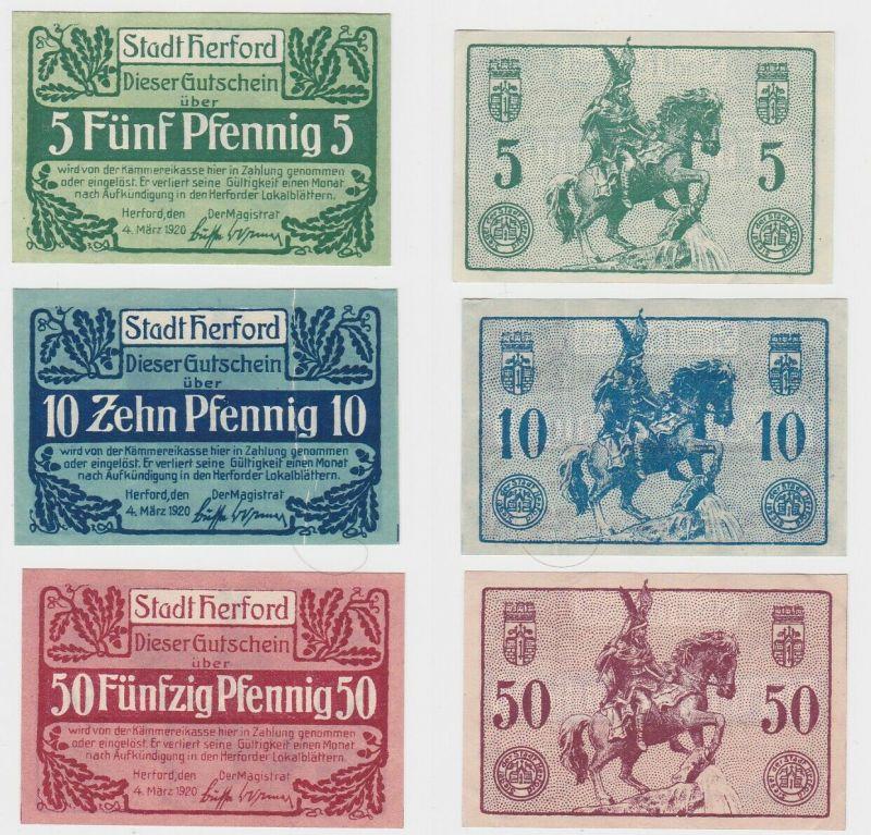 5, 10 & 50 Pfennig Banknoten Notgeld Stadt Herford 1920 (132993)