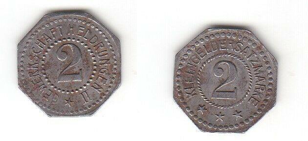 2 Pfennig Eisen Münze Notgeld Gewerkschaft Heldrungen II (113233)