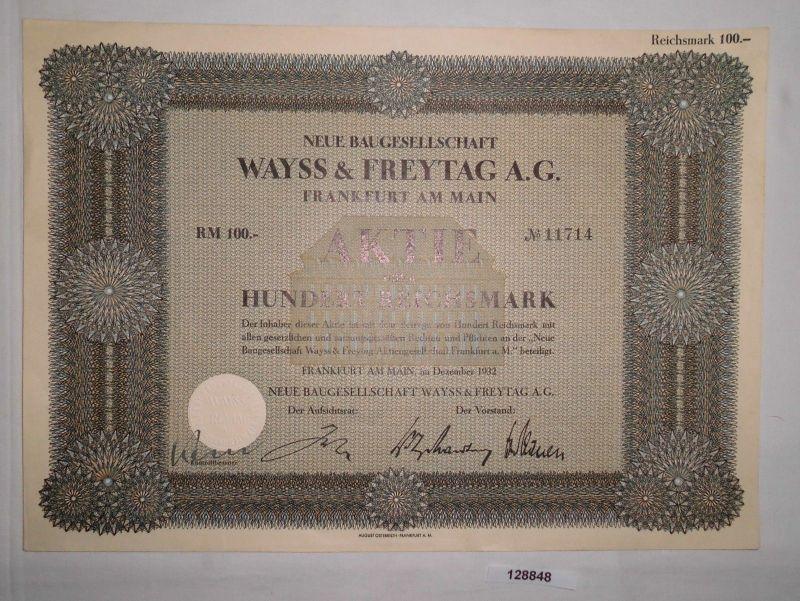 100 Reichsmark Aktie Neue Baugesellschaft Wayss & Freytag AG Dez. 1932  (128848)