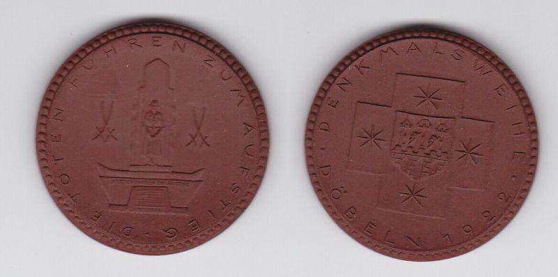 Medaille 1922 Porzellan Böttger Steinzeug Denkmalweihe Döbeln (125821)