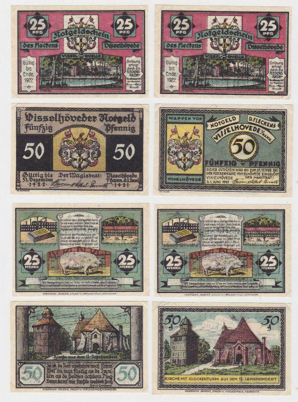2 x 25 & 2 x 50 Pfennig Banknoten Notgeld Stadt Flecken Visselhövede (133149)