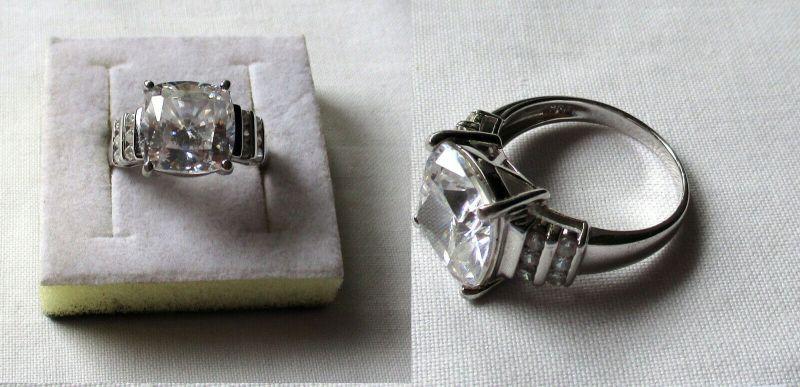 Moderner 925er Sterling Silber Damenring mit großen eckigen Stein (132517)