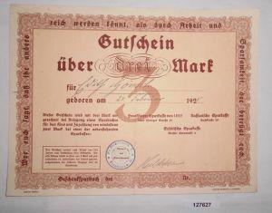 3 Mark Gutschein Frankfurter, Nassauische & Städtische Sparkasse 1925 (127627)