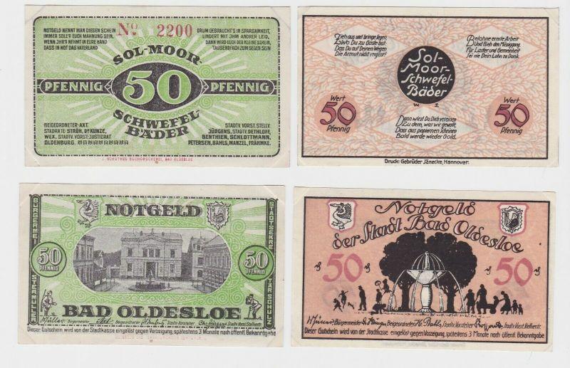 2 x 50 Pfennig Banknoten Notgeld Stadt Bad Oldesloe ohne Datum (133075)