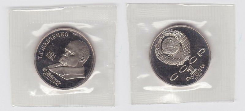 1 Rubel Münze Sowjetunion 1989, 1814-1861 Schevchenko PP OVP (131229)