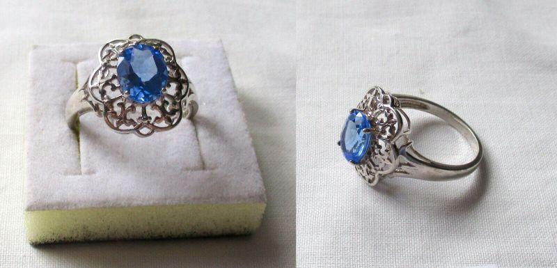 Verspielter 925er Sterling Silber Damenring mit großen blauen Stein (132900)
