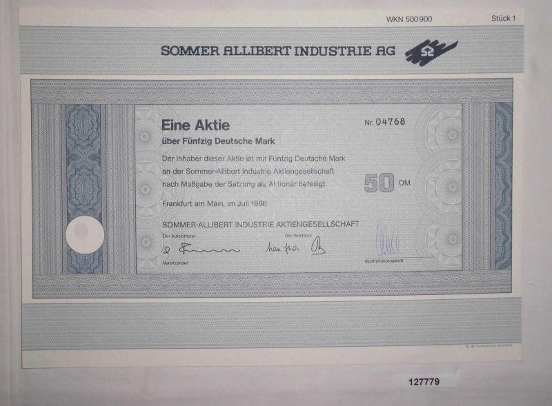 50 Mark Aktie Sommer Allibert Industrie AG Frankfurt am Main Juli 1988 (127779)