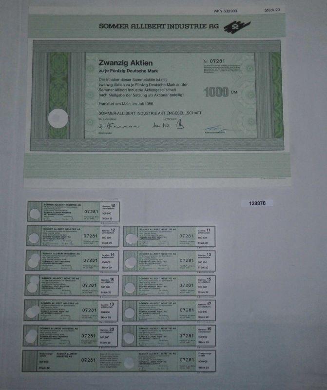 50 Mark zwanzig Aktien Sommer Allibert Industrie AG Frankfurt Juli 1988 (128878)
