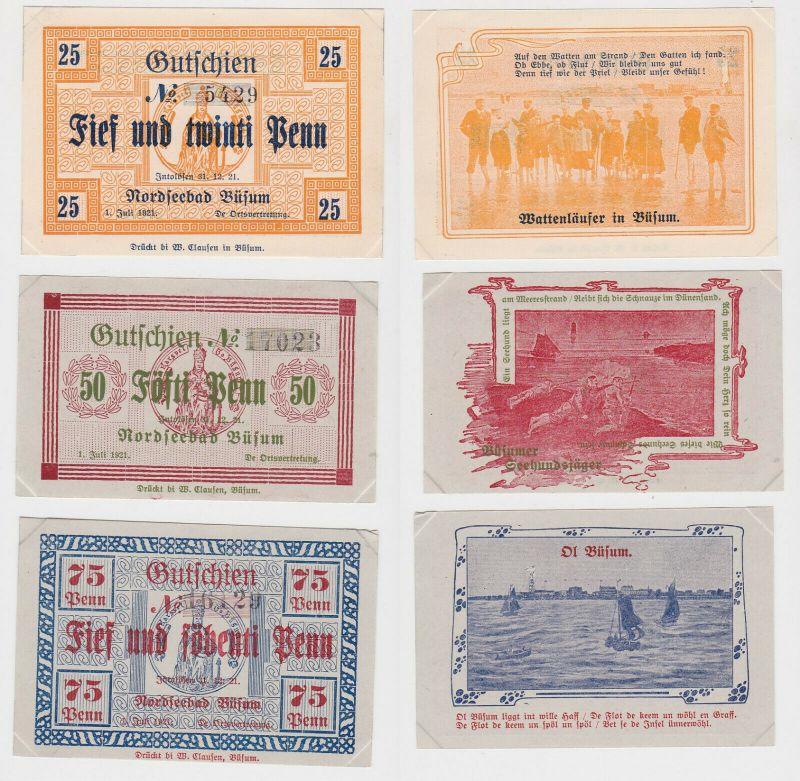 25, 50 & 75 Pfennig Banknoten Notgeld Nordseebad Büsum 1921 (133046)