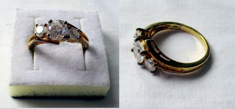 Vergoldeter 925er Sterling Silber Damenring mit 3 weißen Steinen (133087)