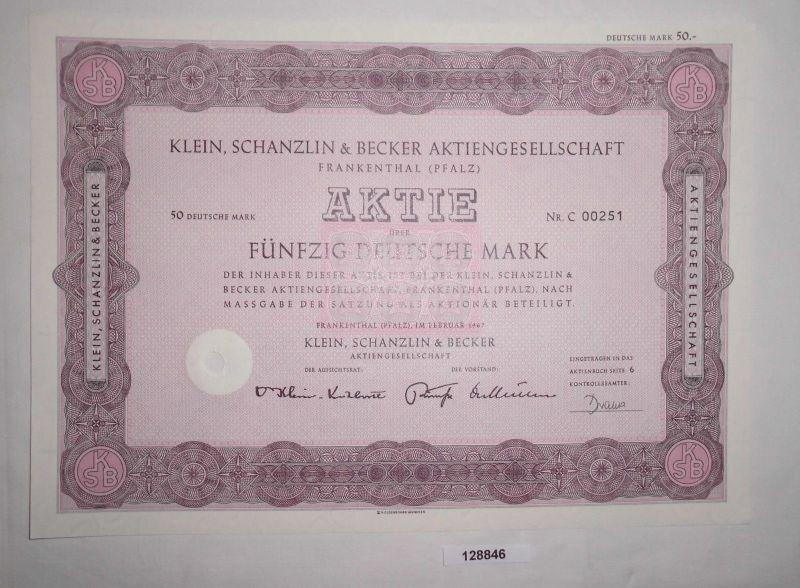 50 Mark Aktie Klein, Schanzlin & Becker AG Frankenthal (Pfalz) Feb 1967 (128846)
