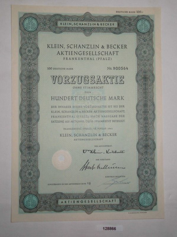 100 Mark Aktie Klein, Schanzlin & Becker AG Frankenthal (Pfalz) 1961 (128866)