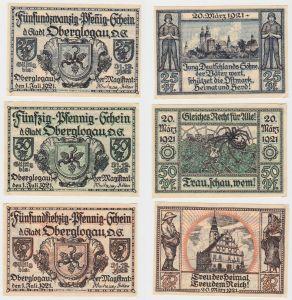 25, 50 & 75 Pfennig Banknoten Notgeld Stadt Oberglogau 1921 (132466)
