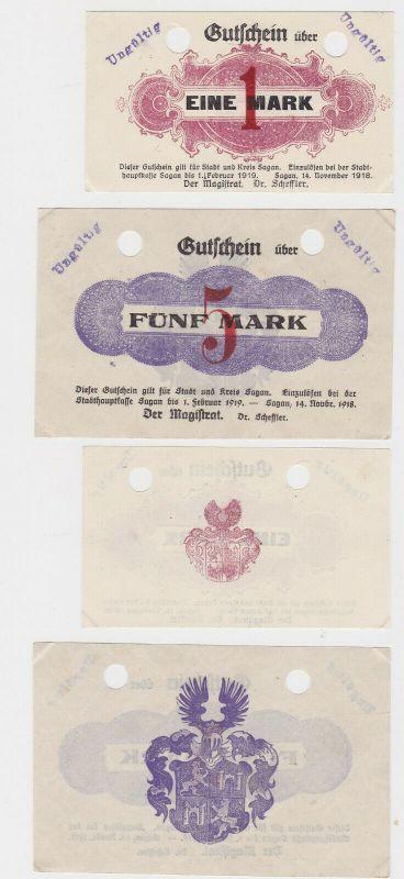 1 und 5 Mark Banknoten Stadt Sagan 14.November 1918 (132996) 0