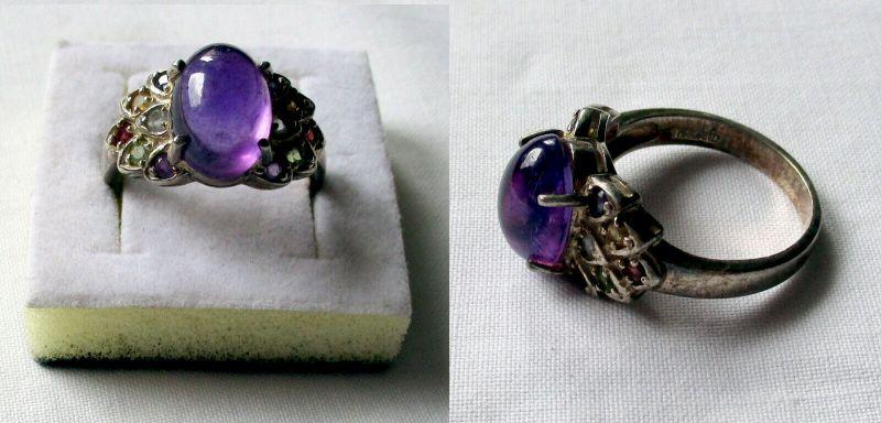 Exotischer 925er Sterling Silber Damenring mit großem lila Stein (132985)