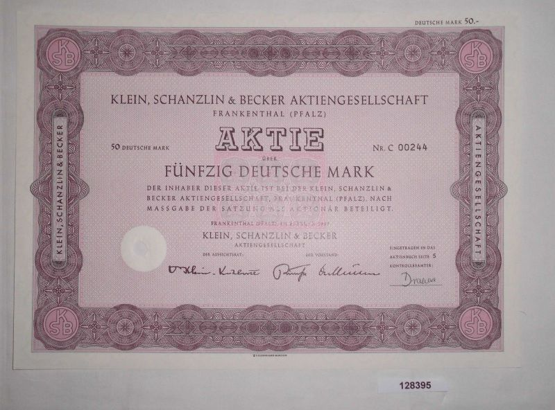 50 Mark Aktie Klein, Schanzlin & Becker AG Frankenthal (Pfalz) Feb 1967 (128395)