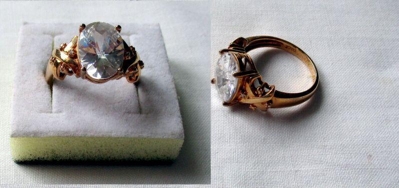 Vergoldeter 925er Sterling Silber Damenring mit großem hellen Stein (132494)