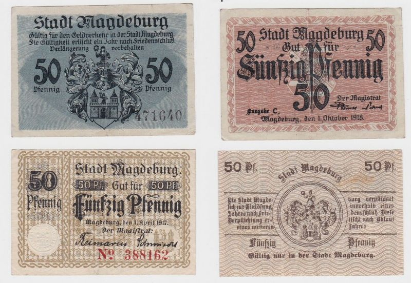2 x 50 Pfennig Banknoten Stadt Magdeburg 1917/1918 (132870)