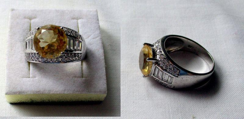 Pompöser 925er Sterling Silber Damenring mit gelblichem Stein (132544)