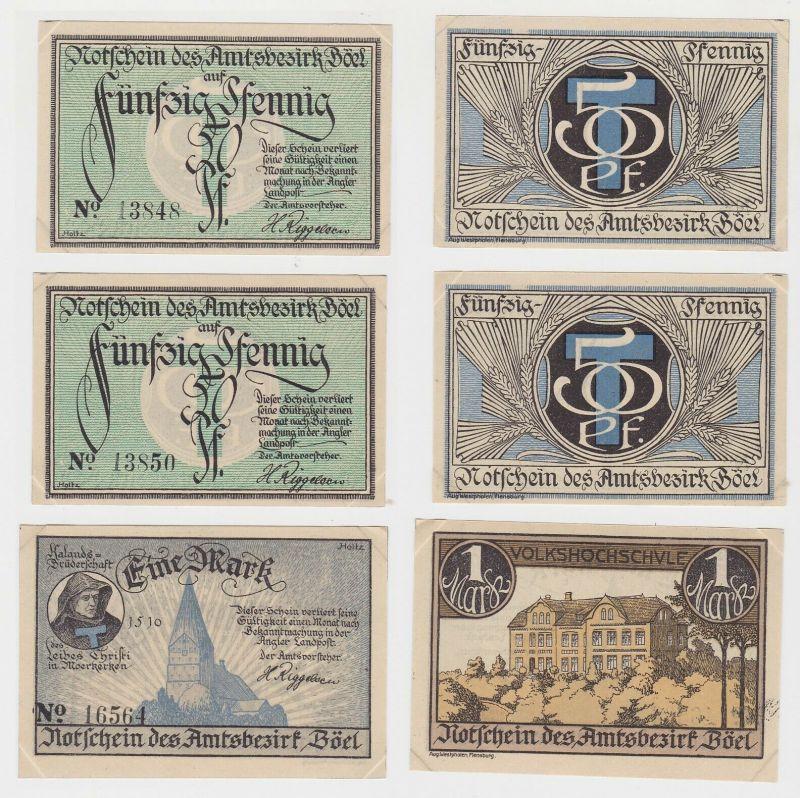 3 Banknoten Notgeld Amtsbezirk Böel ohne Datum (132098)