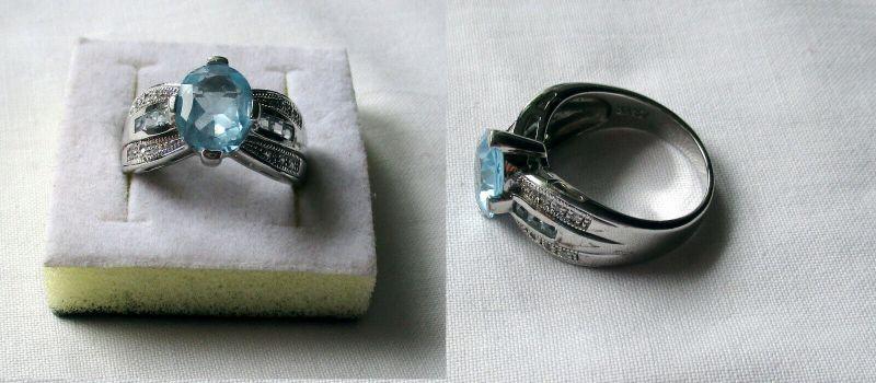 Eleganter 925er Sterling Silber Damenring mit hellblauem Stein (132562)