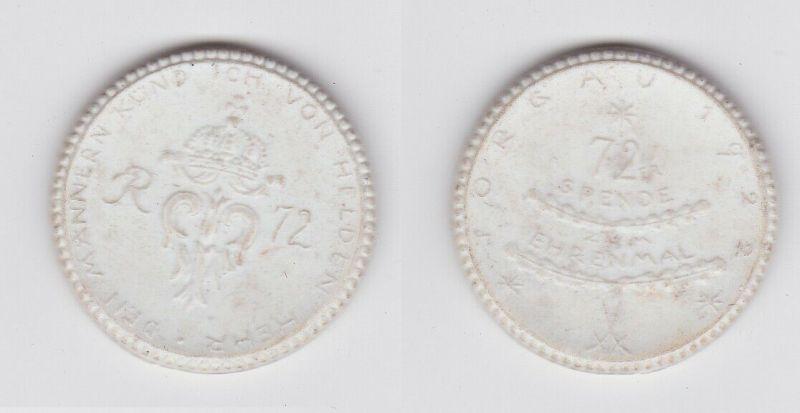 Meissner Porzellanmedaille Spende zum 72er Ehrenmal Torgau 1922 (126509)