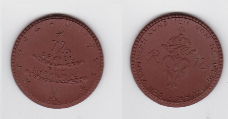 Meissner Porzellanmedaille Spende zum 72er Ehrenmal Torgau 1922 (123685)