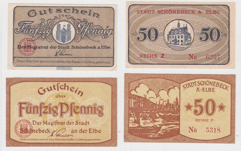 2x 50 Pfennig Banknote Notgeld Schönebeck an der Elbe ohne Datum (132270)