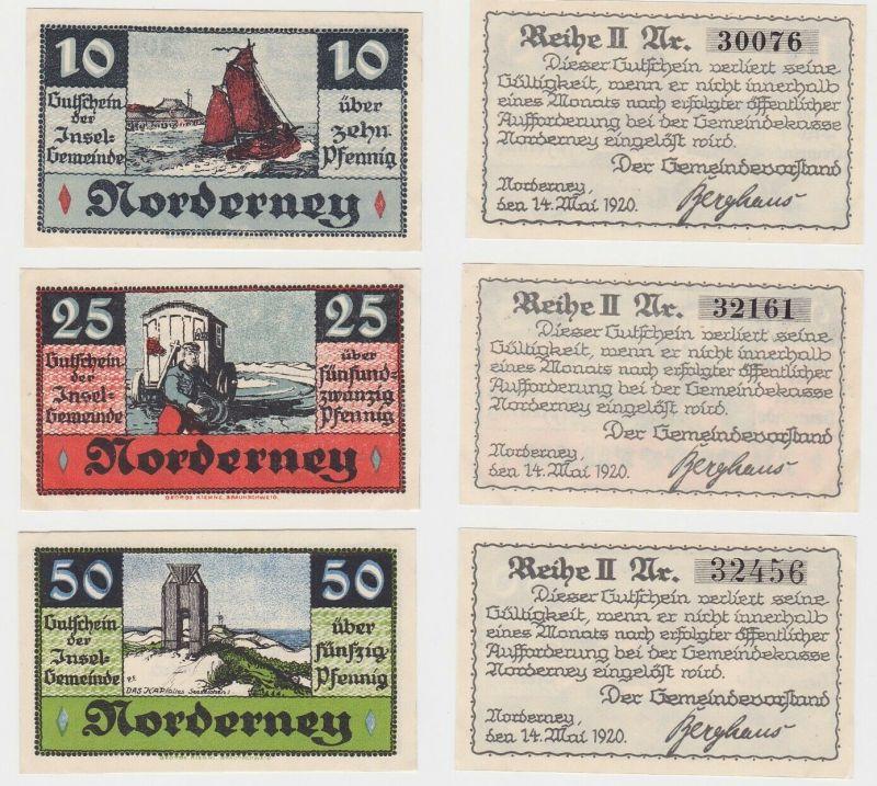 3 Banknoten Notgeld Gemeinde Norderney 14.Mai 1920 (131779)