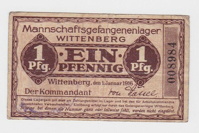 1 Pfennig Banknote Mannschaftsgefangenenlager Wittenberg 1.1.1916 (132636)