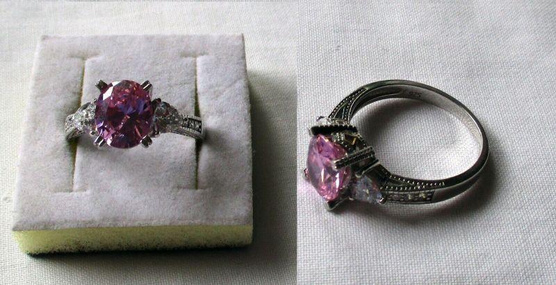 Toller 925er Sterling Silber Damenring mit rose & weißen Steinen (133095)