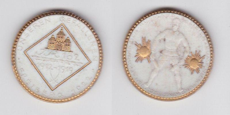 Porzellan Medaille Freiberg 1922 Weltkrieg Ehrenmal 182er IR Meissen (123016)