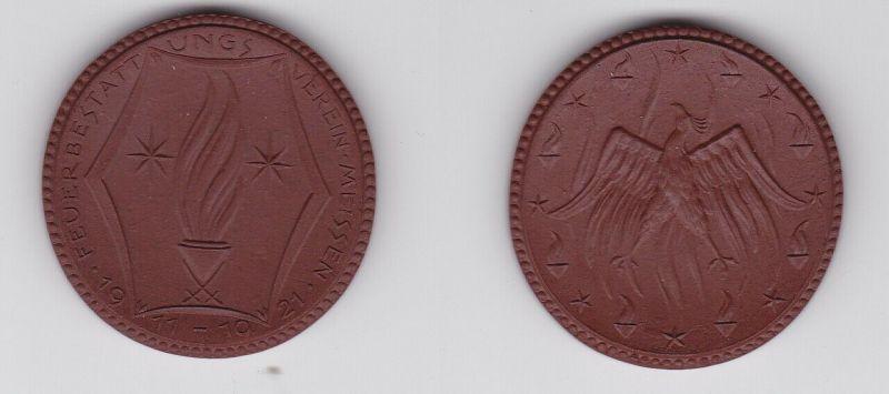 Meissner Porzellanmedaille Feuerbestattungsverein Meissen 1911-1921 (123414)
