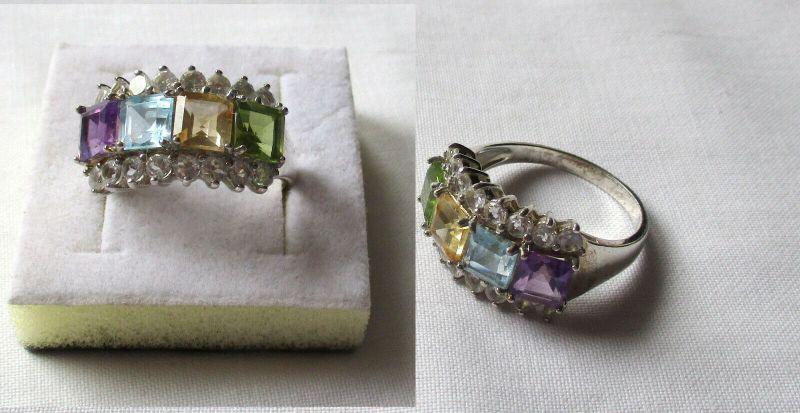 Dekorativer 925er Sterling Silber Damenring mit bunten Steinen (133091)