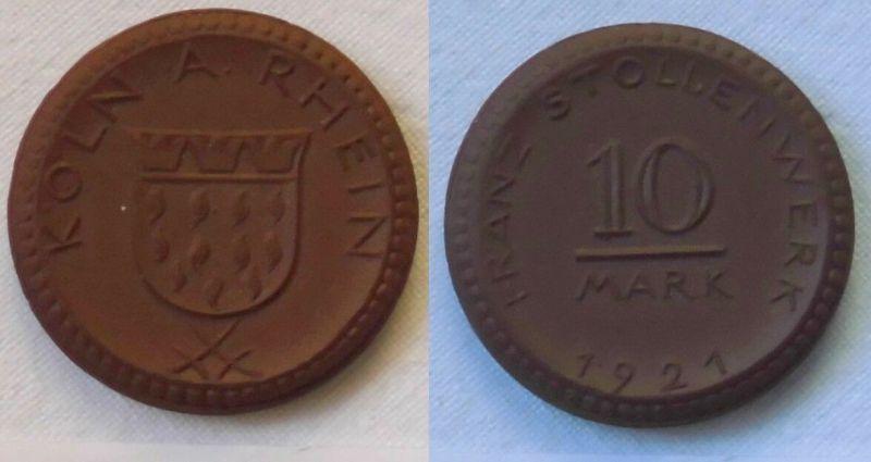 Münze Franz Stollenwerk Köln 10 Mark 1921 Scheuch 30a Menzel 13475.4.  (110841)