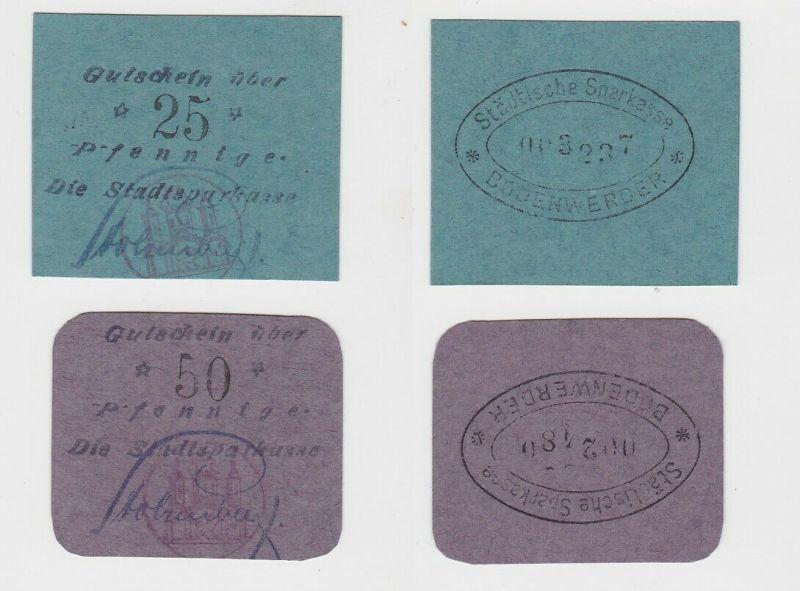 25 & 50 Pfennig Banknoten Stadtsparkasse Bodenwerder ohne Jahr  (131650)