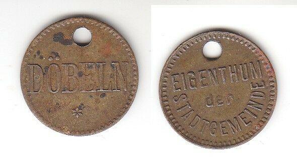 Alte Messing Münze Wertmarke Eigentum der Stadtgemeinde Döbeln um 1920 (113288)
