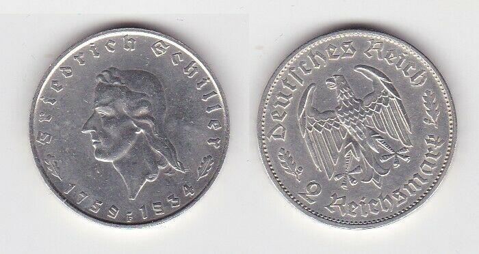 2 Mark Silber Münze Friedrich von Schiller 1934 F (131501)