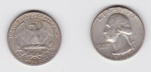 1/4 Dollar Silber Münze USA 1964 vz (119731)