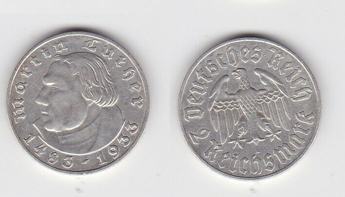 2 Mark Silber Münze 3.Reich Martin Luther 1933 A (131170)