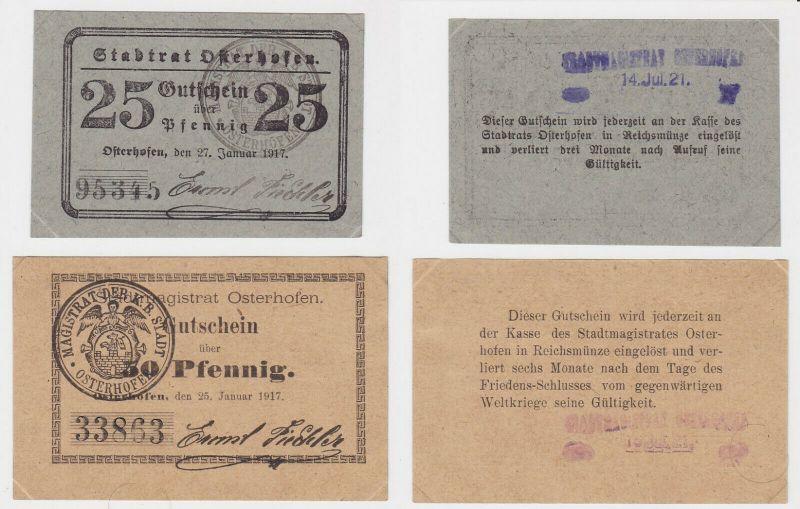 25 & 50 Pfennig Banknoten Stadt Osterhofen 25./27.Januar 1917  (133133)