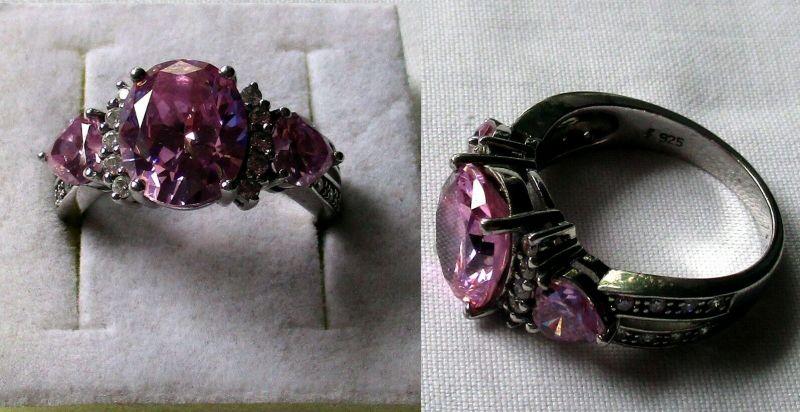 Außergewöhnlicher 925er Sterling Silber Damenring mit rosa Steinen (132558)