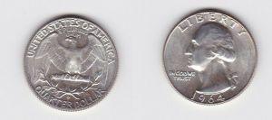 1/4 Dollar Silber Münze USA 1964 vz (115359)