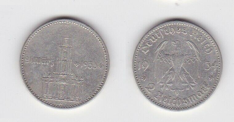 2 Mark Silber Münze 3. Reich Garnisonkirche mit Datum 1934 A Jäger 355 (131177)