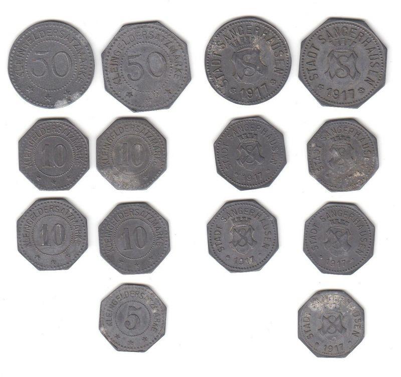 7 x Zink Notmünzen Stadt Sangerhausen 1917 (113177)